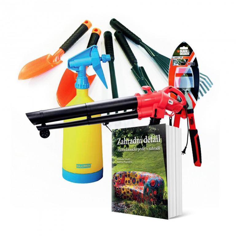 Vysavač, nůžky, postřikovač, lopatky, vyrývač, hrábě a Zahradní detail