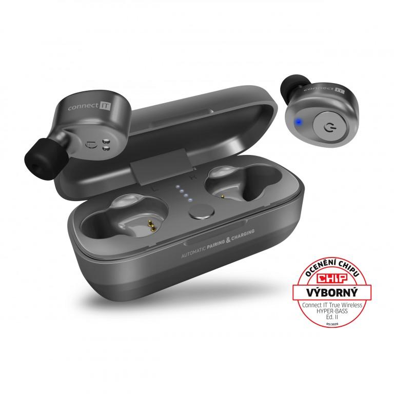 Sluchátka CONNECT IT True Wireless HYPER-BASS Ed. 2 Silver v hodnotě 899 Kč