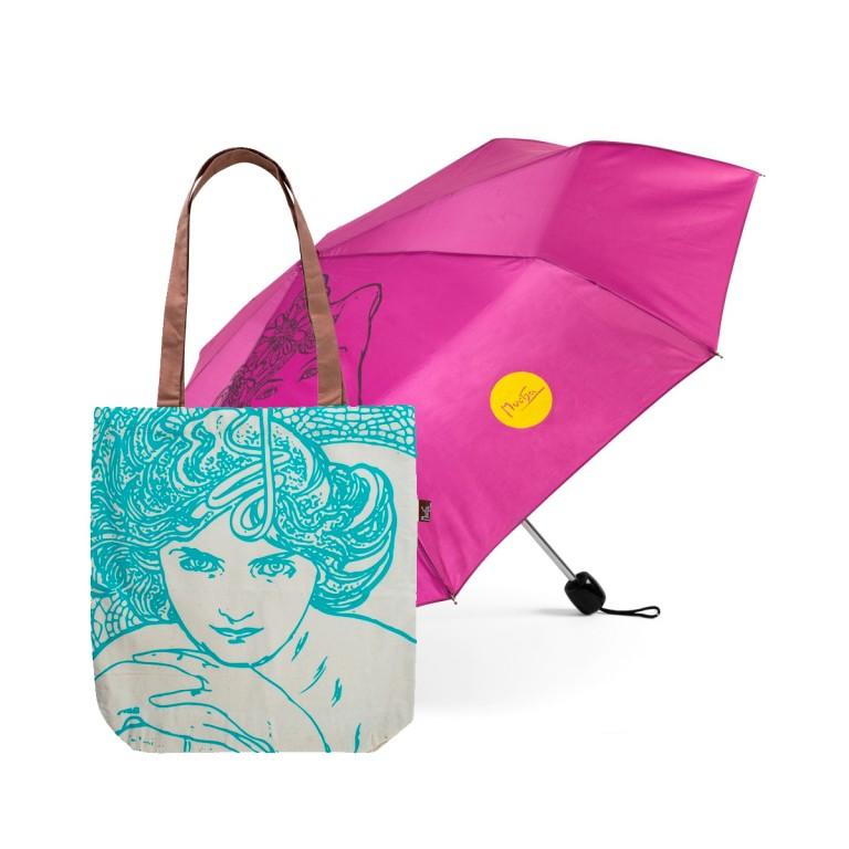 Deštník a taška Alfons Mucha v hodnotě 528 Kč