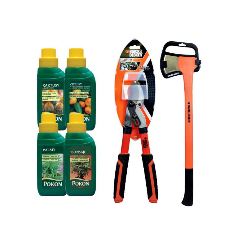Nůžky na větve, sekera a hnojiva