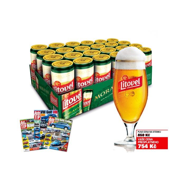 Karton piva Litovel se sklenicí