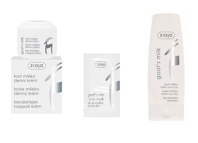Balíček kosmetiky Ziaja Kozí mléko: denní pleťový krém a maska, krém na ruce a nehty
