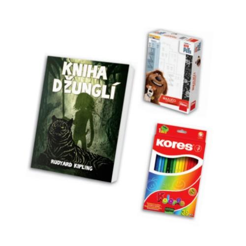 Kniha, hra a pastelky v hodnotě 358 Kč