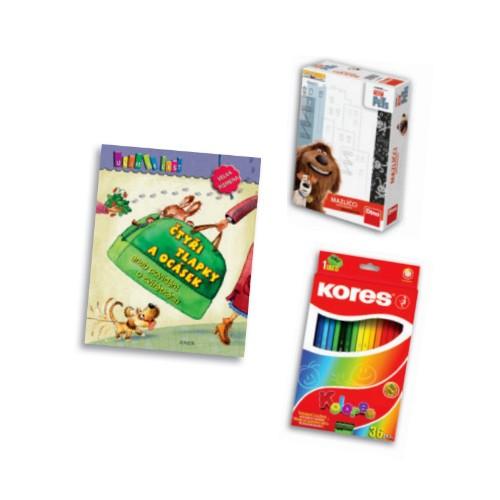 Kniha, hra a pastelky v hodnotě 368 Kč