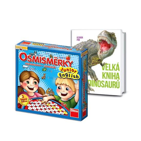 Osmisměrky Junior English a kniha Dinosauři v hodnotě 878 Kč