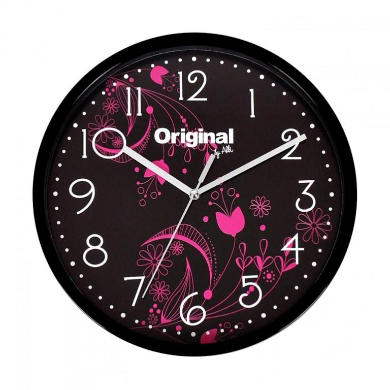 Dárek - nástěnné hodiny Albi - růžové květy