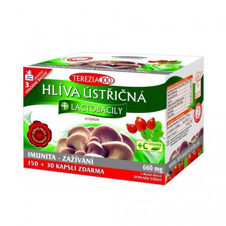 Doplněk stravy- Hlíva Ústřičná + Lactobacily se šípkem 150 + 30 kapslí