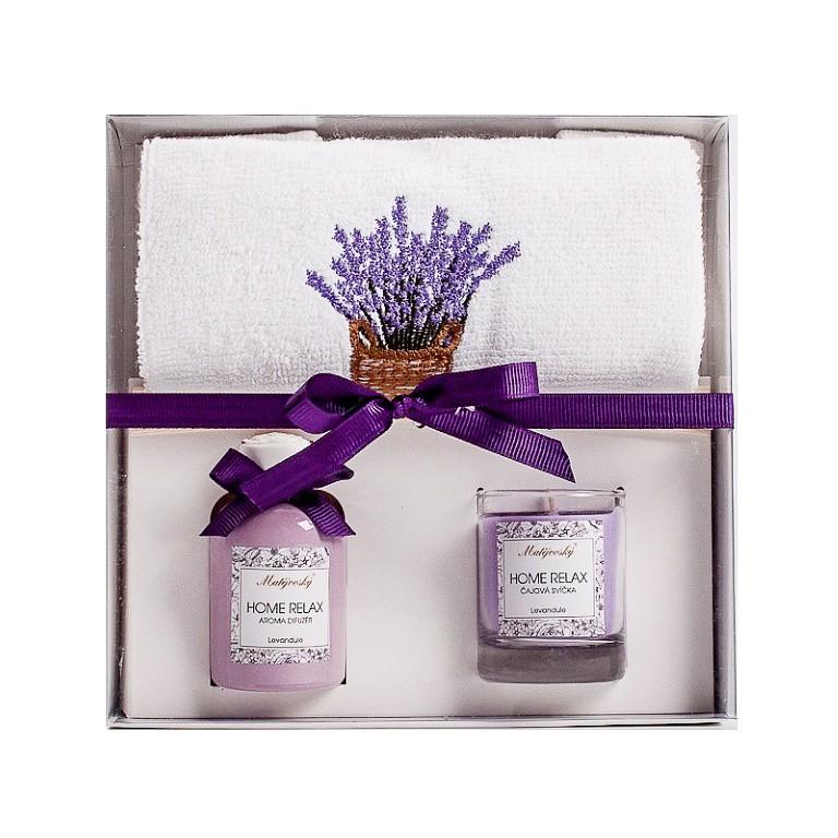 Matějovský dárkové balení Home relax - ručník, aroma difuzér s náplní a tyčinky, a svíčka ve skle