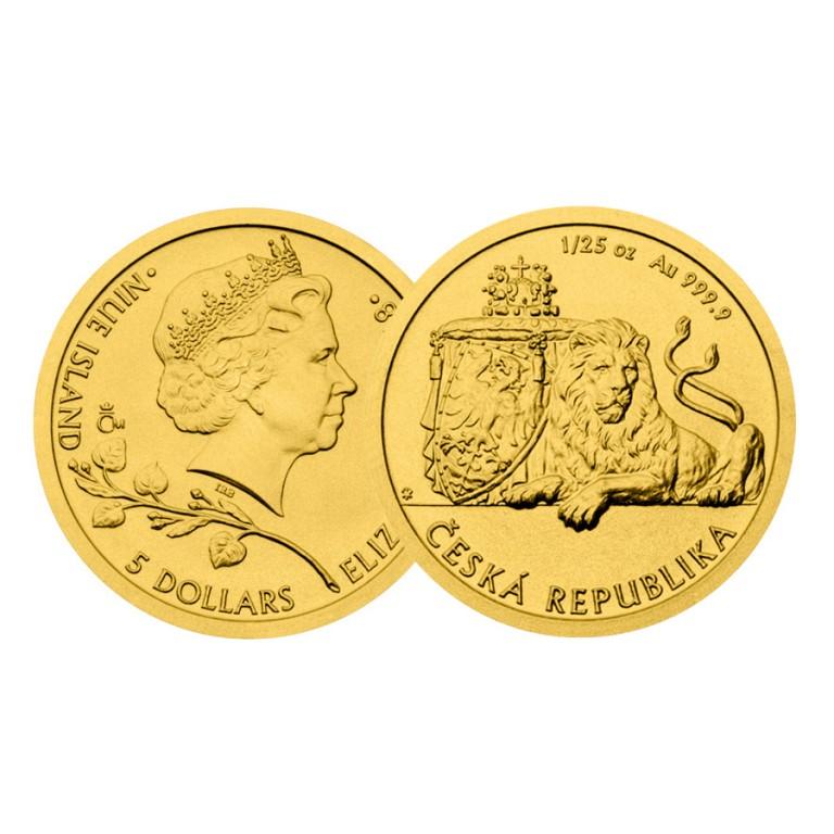 Zlatá mince český lev v hodnotě 1 800 Kč