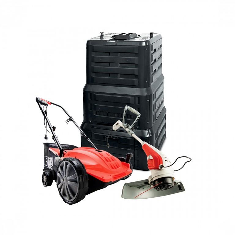 Vertikutátor, sekačka a kompostér