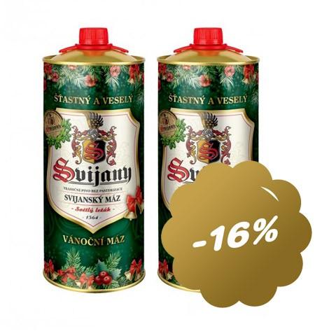 2x 2l plechovky piva s vánočním motivem